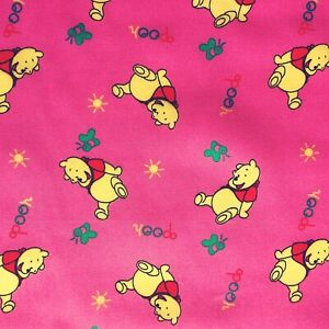 PolyCotton Fabric Kids Children Winnie The Pooh Pink Red Reduced Price Material