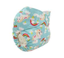 Modern Cloth Reusable Washable Baby Nappy Diaper & Insert, Pretty Blue Unicorns