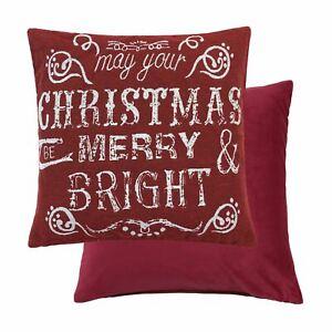 Evans Lichfield Weihnachten Pudding Gefüllt Chenille Baumwolle Rot Braune Kissen