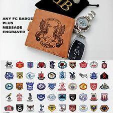 leather Wallet brown football fc badge logo Engraved grandad dad Boyfriend Gift