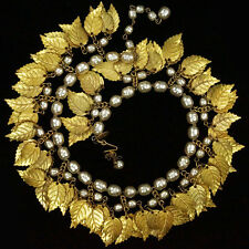 Miriam Haskell Pendant Gold Leaves & Baroque Pearls Sprung Choker Necklace