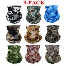 9 Pack Camo Face Neck Gaiter Balaclava Bandana Scarf Fishing Sun Shield Headwear