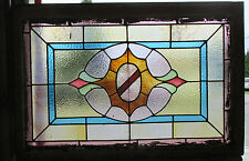 ANTIQUE AMERICAN STAINED GLASS WINDOW 36 x 24 ~ ARCHITECTURAL SALVAGE~
