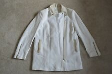 Sandro White Cotton / Leather Trim - Zip Trench Coat Jacket Womens EU 38 UK 10