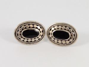 Onyx Stud Earrings Sterling Silver Ladies Stunning 925 6.3g Gw74