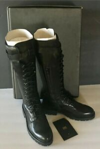 Frye Julie Lace Up Tall Leather Bloc Heel Combat Boots Black 6.5. NewInBox