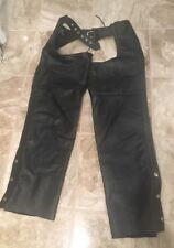 FMC BLACK GENUINE LEATHER MOTORCYCLE RIDING UNISEX CHAPS PANTS Sz Small