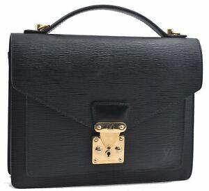 Authentic Louis Vuitton Epi Monceau Hand Bag Briefcase Black M52122 LV D2949