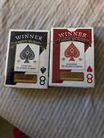 2 Decks Winner Poker Playing Cards Red & Blue New Deck Casino Quality
