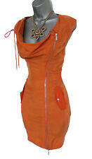 Rare Karen Millen Orange Honey Military Safari Trench Office Pencil Dress UK10