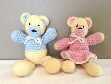 """Vintage Pair of Hand Crocheted 11"""" Bears-Boy & Girl Pink Blue and Yellow"""
