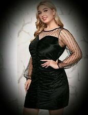 New Black Gothic Velvet with a Paterned Mesh Yoke Short Dress size 4XL 24 26 28