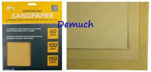 12 Sheets ASSORTED GRIT SANDPAPER Fine Medium Coarse Sand Paper Sanding Paper