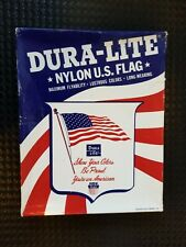 Vintage 1970s Dura-Lite Nylon U.S. American Flag, New in Box- Made in Usa