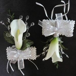 Ivory Real Touch, Latex, Silk Flower Calla Lily ,Crystal Wrist Corsage Wedding,
