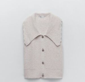 Zara Sleeveless Knitted Cardigan With Oversized Collar And Rhinestone Buttons S