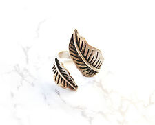 Silver Leaf wrap ring. Boho/hippy/vintage band carved tibetan ring jewellery