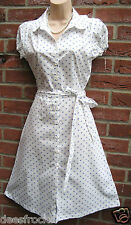 SIZE 10 40'S WW2 VINTAGE STYLE SUMMER TEA SHIRT DRESS WHITE BLUE SPOT US 6 EU 38