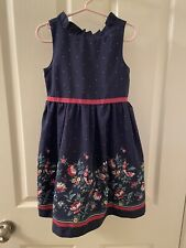 Janie and Jack Floral Border Dress Navy Blue Ruffle Neck Girls Size 4