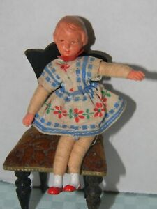 """Caco Vintage Dollhouse 3 1/4""""  Girl with molded hair Metal feet & plastic hands"""