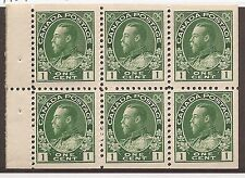 CANADA #104ai MINT BOOKLET PANE F/VF NH HAIRLINES