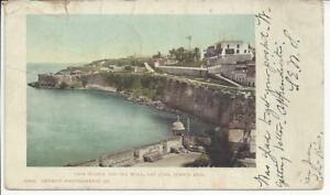 CASA BLANCA AND SEA WALL, SAN JUAN, PUERTO RICO, POSTMARKED 1905