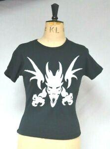 Spanki Black Dragon Print Top Y2K Deadstock Gargoyle