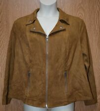 Womens Saddle Brown Style&co Soft Faux Suede Jacket Size 1X NWT NEW