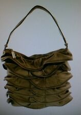 Bodhi Handbags NEW Avenue A Bronze Ruffled Leather Hobo Handbag $748.00