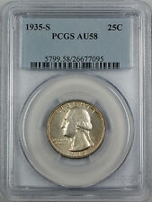1935-S Silver Washington Quarter Coin, PCGS AU-58