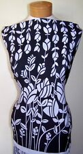 Black and White Floral Double Border Print Stretch ITY Lycra Fabric By The Yard