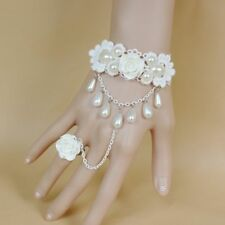 Pearls White Rose Jewelry Wedding Bridal Charm Bracelet Chain Accessories