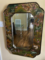 Antique Vintage Chinese Gold Lacquer Hand Painted Mirror - Floral & Birds