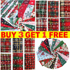Christmas Mixed 100% Cotton Fabric Material Joblot Value Bundle Scraps Offcuts