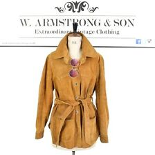 Women's Vintage 70's Brown REAL SUEDE LEATHER Boho Belted Festival Jacket UK L