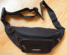 Black Canvas BIG Travel Waist Bag Sport Pack Hip Purse Fanny Pack For Unisex A+
