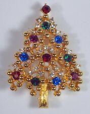 Vintage Eisenberg Christmas Tree Pin Brooch Gold Tone Rhinestone