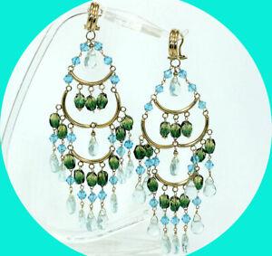 """Quartz crystal bead drop chandelier dangle earrings 14K YG 4 1/4"""" 21.7 GM"""