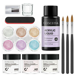 COSCELIA Acrylic Powder&Liquid Starter Full Set Glitter Nail Art Tool False Tips