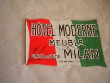 Vintage Luggage label Hotel Moderne Meuble Milan small type 1950s
