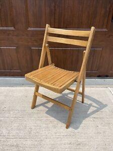Vintage Wooden Folding Chair Mid Century Wood Slat Seat Romania USA MCM 5