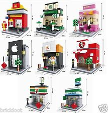 8 Lot City Modular Buildings Stores Brick Blocks FAST USA SHIPPING - fits LEGO