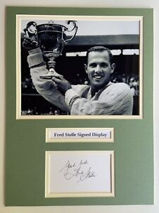 """Tennis Fred Stolle Signed 16"""" X 12"""" Double Mounted Display"""