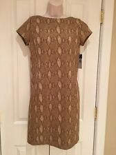 RALPH LAUREN Petite Small PS TAN SNAKESKIN PRINT SHORT SLEEVE DRESS NWT $135