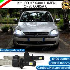 KIT FULL LED H7 OPEL CORSA C 6000K BIANCO GHIACCIO NO ERROR + PORTALAMPADE
