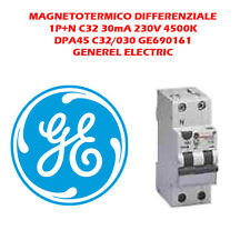 DIFFERENZIALE MAGNETOTERMICO 32A 1P+N 30mA 230V 4500K GENERAL ELECTRIC GE