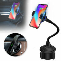 Wireless Fast Car Charger Charging Gooseneck Cup Holder For iPhone X Samsung S10