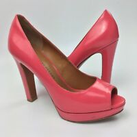 Marc by Marc Jacobs Peep Toe Platform Pumps Size 6 Leather High Heels Shoes Pink