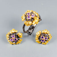 Handmade Natural Amethyst 925 Sterling Silver SET Ring Size 8.5/R125586