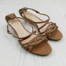 Elie Tahari Womens Strappy Sandals Size 37.5 US 8.5 Beige Tan Small Wedge Buckle